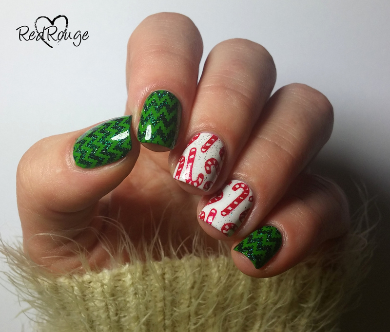 Merry Christmas nail art by RedRouge