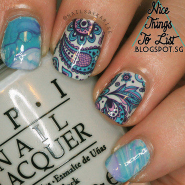 Water Marbling with Decails nail art by Karise Tan