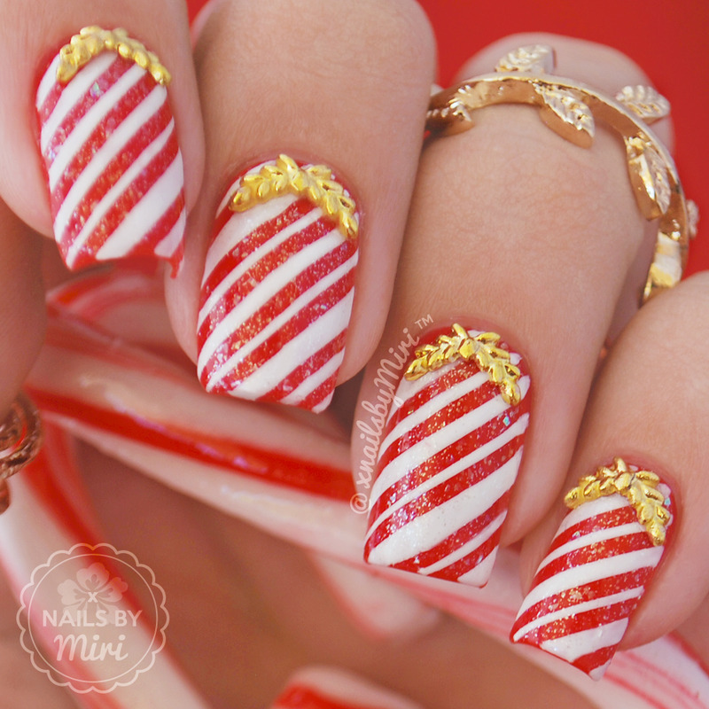 Candy Cane Nails nail art by xNailsByMiri