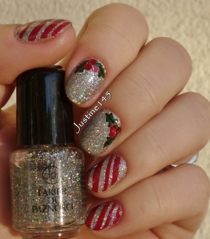 holo christmas nail art by Justine145