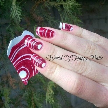 Watermarble sticker candy cane manicure nail art by Aurora