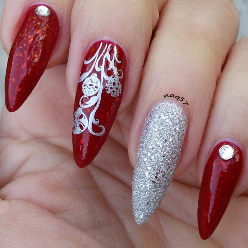 Silver Ornaments nail art by Nora (naq57)