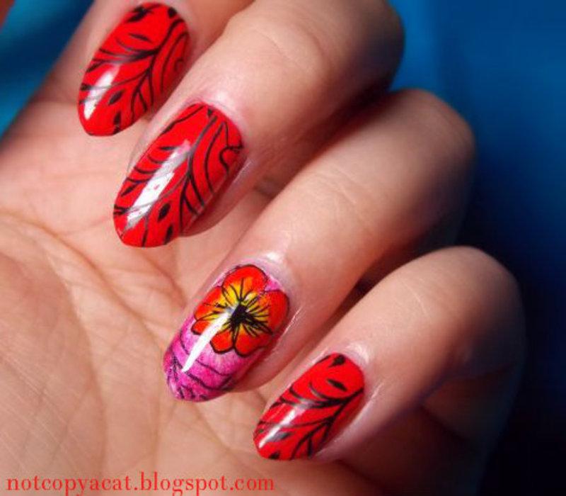 Flower with stems nail art by notcopyacat