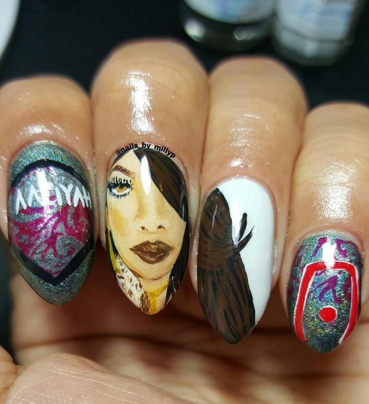 Aaliyah nail art by Milly Palma