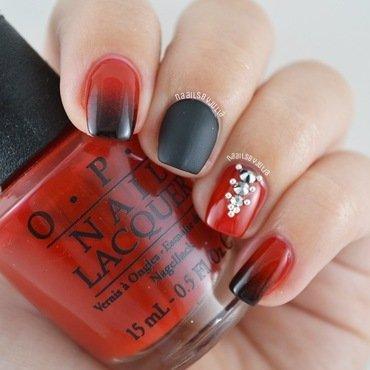 Red & black nail art by Julia