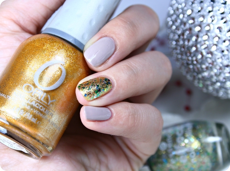 Orly Glitz, Essence Hidden Garden, and Rimmel 498 Rain Rain Go Away Swatch by Romana