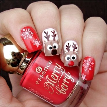 Rudolph and his buddy nail art by Sanela