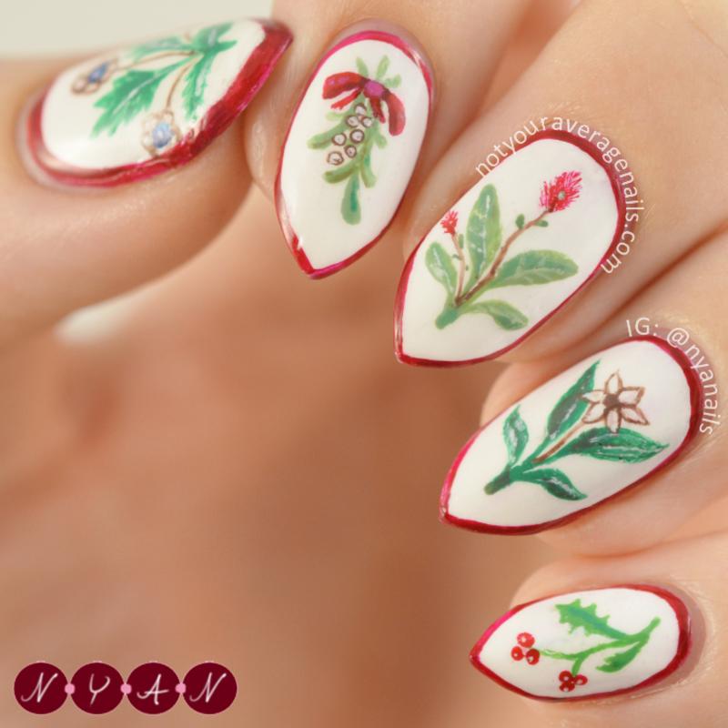 Winter Garden nail art by Becca (nyanails)