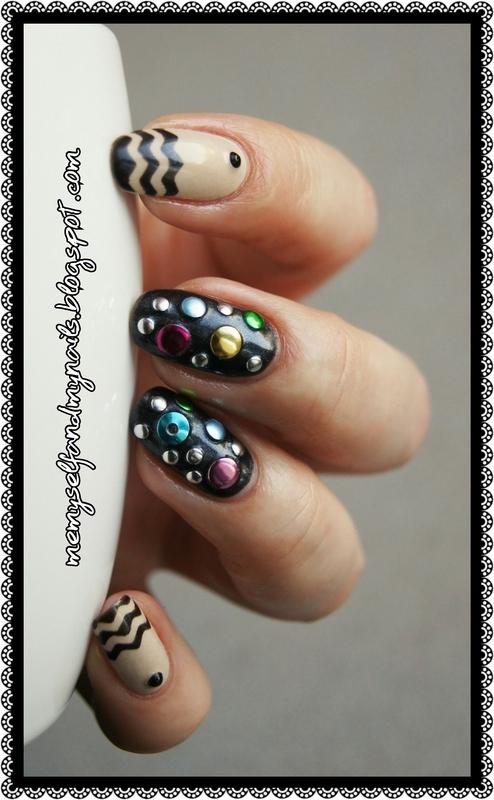 Crazy studs nail art by ELIZA OK-W