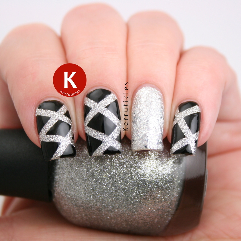 Black and silver laser nails nail art by Claire Kerr