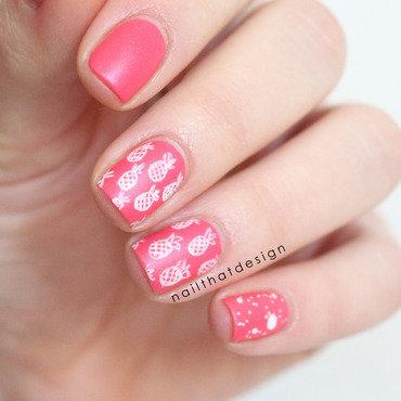 pink pineapples  nail art by NailThatDesign