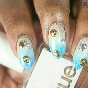 Beach Nails nail art by glamorousnails23