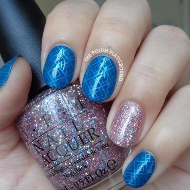 Blue Geometric Stamping with Glittery Pink Accent nail art by Lisa N