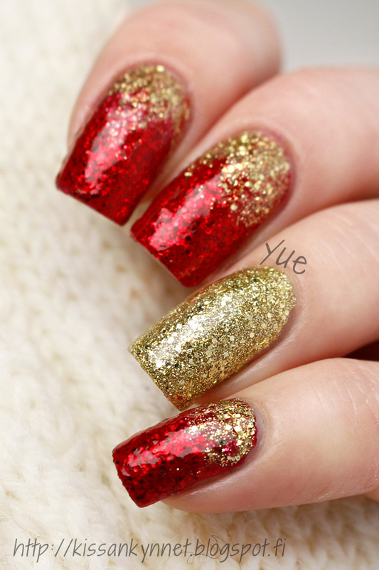 Holiday sparkles nail art by Yue