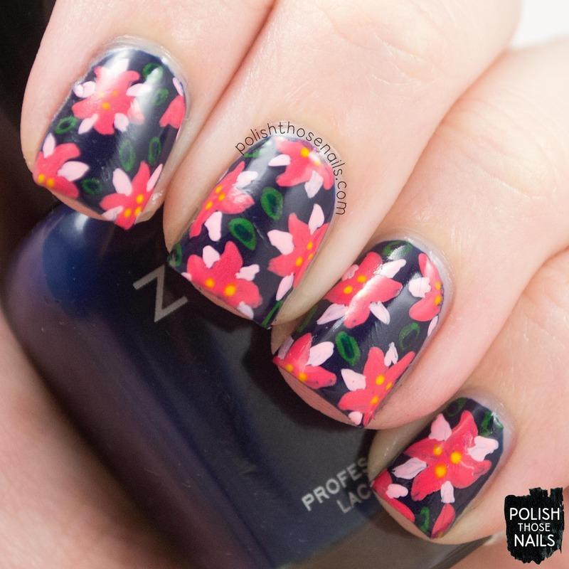 Tropical Poinsettias nail art by Marisa  Cavanaugh