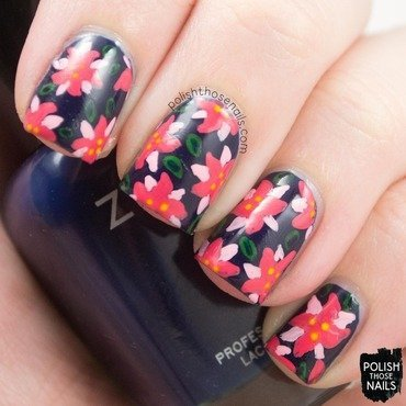 Tropical pointsetta floral nail art 4 thumb370f