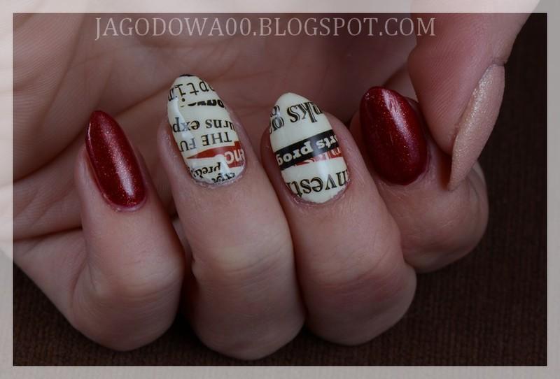 Newspaper nail art by Jadwiga