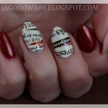Newspaper nail art by Jadwiga