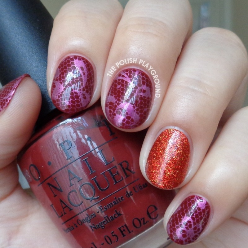 Pink Floral Lace Stamping with Red Glitter Accent nail art by Lisa N