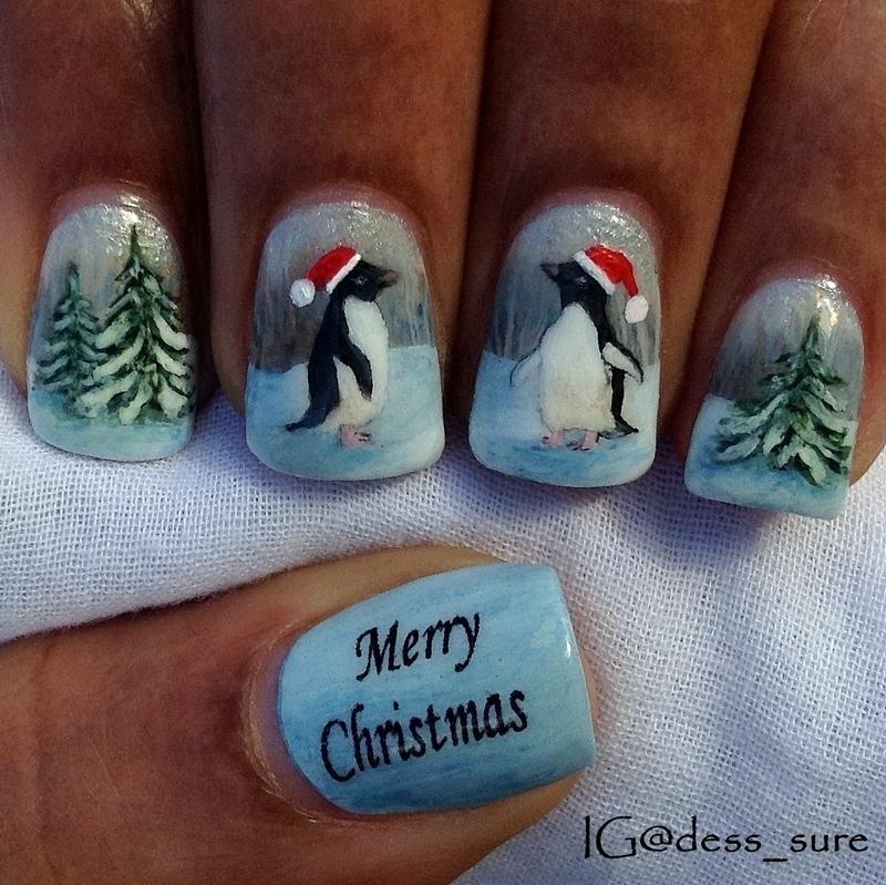Santa Penquins nail art by Dess_sure