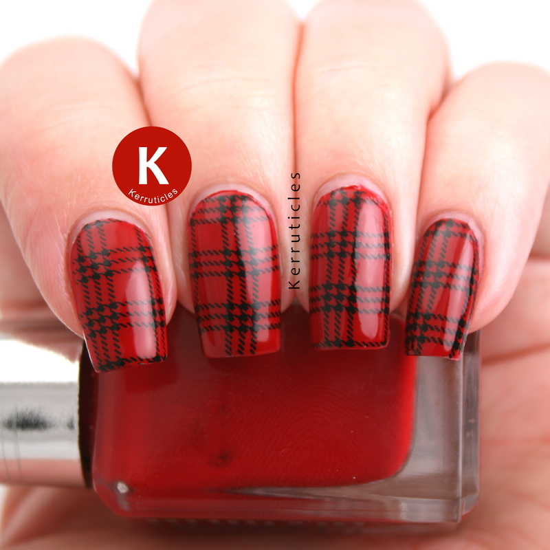 Red and black tartan nail art by Claire Kerr