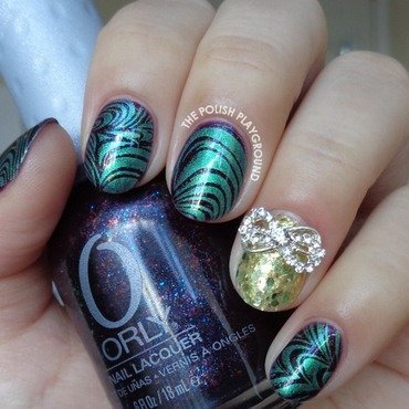 Shimmery Green Water Marble Inspired Stamping nail art by Lisa N