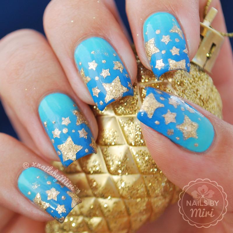 Blue Gradient + Gold Stars nail art by xNailsByMiri - Blue Gradient + Gold Stars Nail Art By XNailsByMiri - Nailpolis