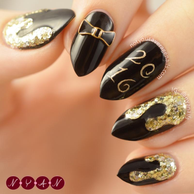 NYE 2016 nail art by Becca (nyanails)