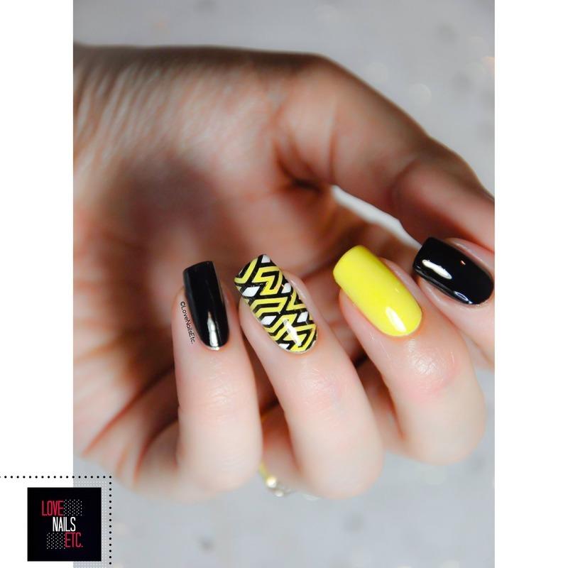 Geometric Yellow & Black nail art by Love Nails Etc