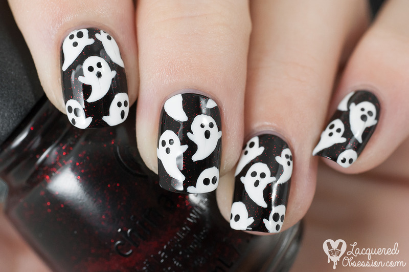 Little white ghosts nail art by Lacquered Obsession