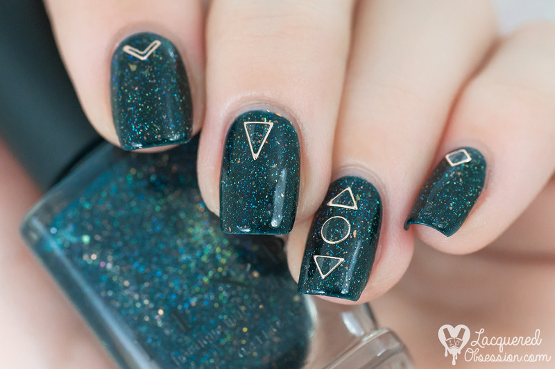 Copper shapes nail art by Lacquered Obsession