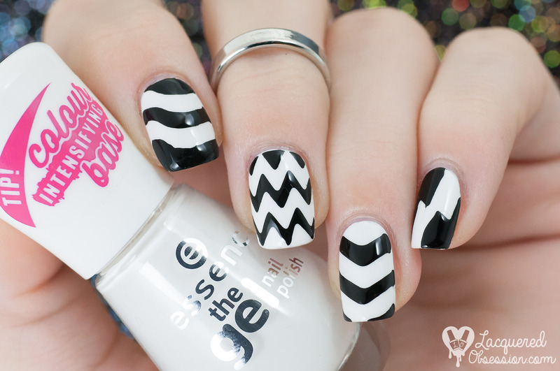 B&W nail vinyls experiment nail art by Lacquered Obsession