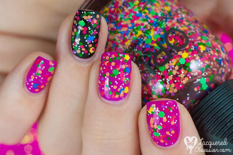 Orly Turn It Up And Orly Fluorescent Fuchsia Neon Swatch By Lacquered Obsession Nailpolis