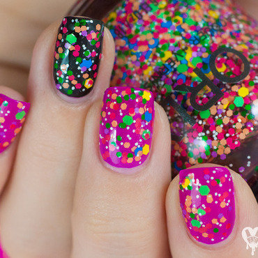 Orly Turn It Up and Orly Fluorescent Fuchsia Neon Swatch by Lacquered Obsession