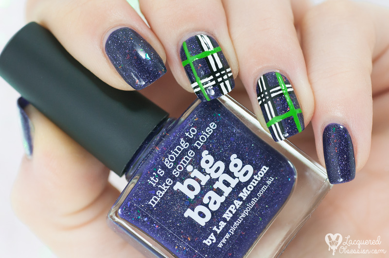 Blue and green plaid nail art by Lacquered Obsession