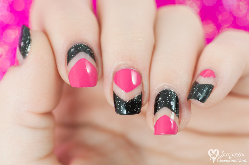 Pink and black negative chevrons nail art by Lacquered Obsession