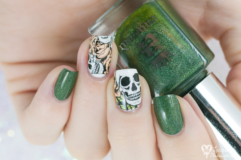 Skulls 'n' roses nail art by Lacquered Obsession