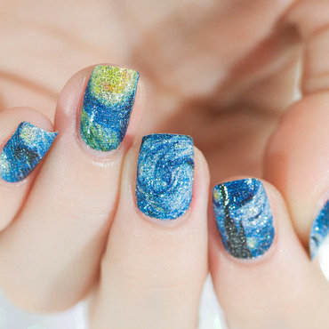 Starry Night nail art by Lacquered Obsession