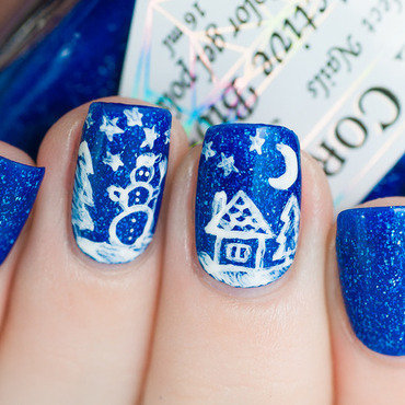 Snowy landscape nail art by Lacquered Obsession