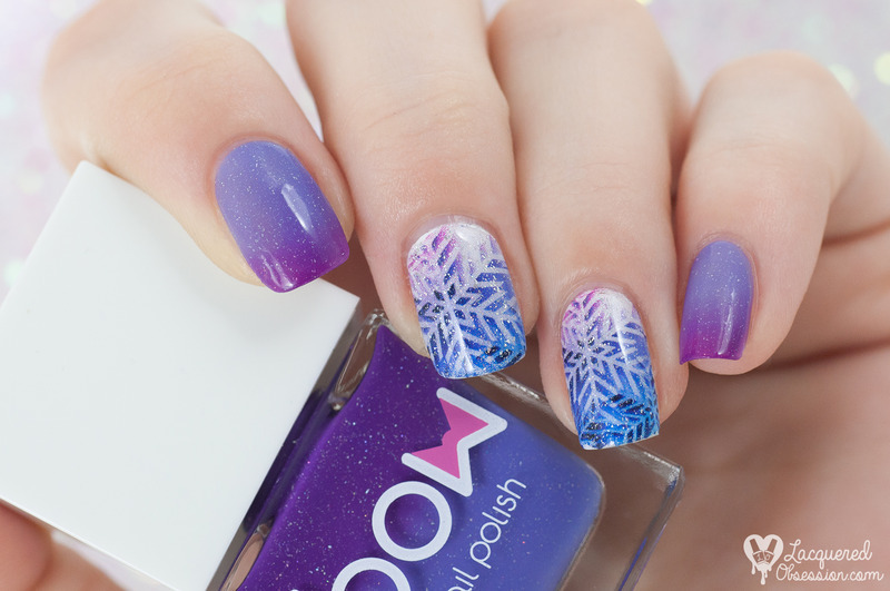 Blurple snowflakes nail art by Lacquered Obsession
