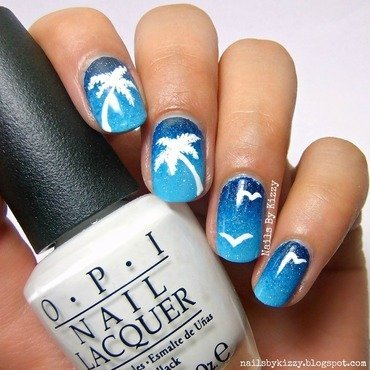 Night Time Palm Tree Nails nail art by Kizzy