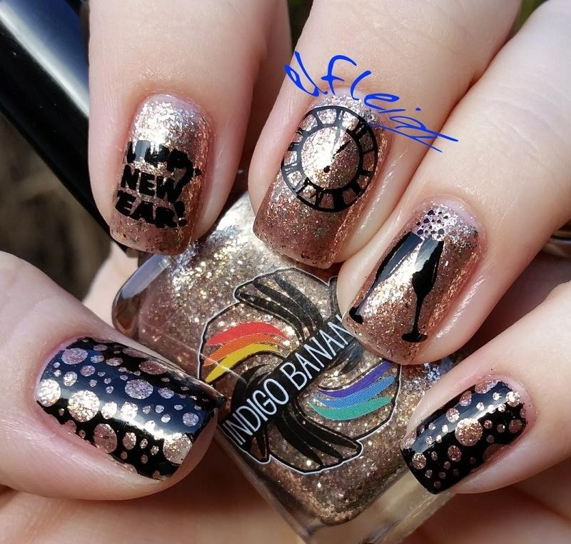40 Great Nail Art Ideas- New Year's nail art by Jenette Maitland-Tomblin