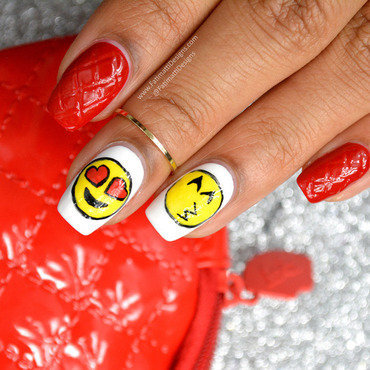 Quilted Patent Leather and Emojis nail art by Fatimah
