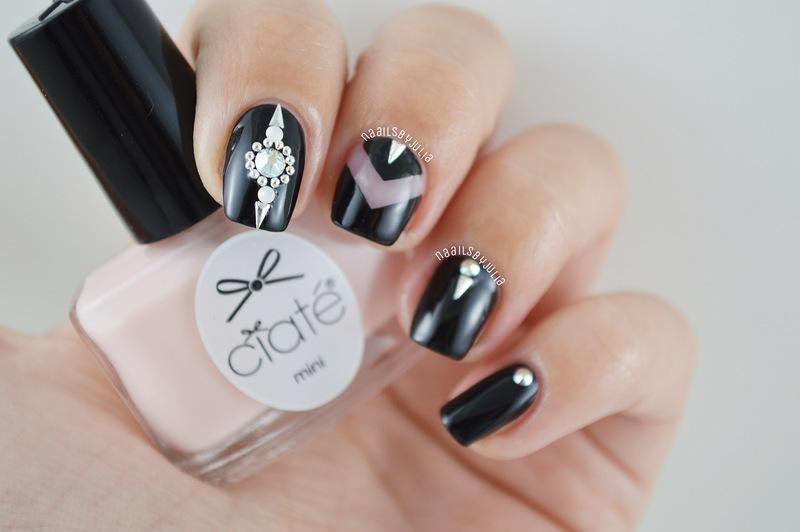 Black+bling bling nail art by Julia