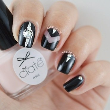 Black+bling bling nail art by Julia