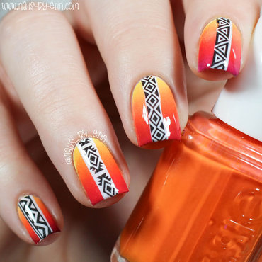 Sunset Aztec Nails nail art by Erin