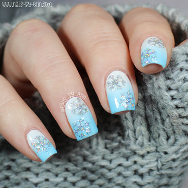 Glitter Snowflake Nails nail art by Erin