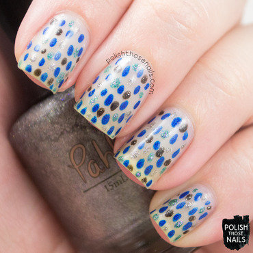 Negative space blue black grey holo dots nail art 4 thumb370f