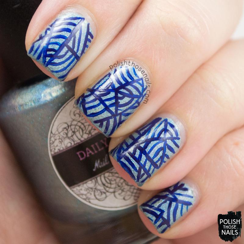 Blue-y Lines nail art by Marisa  Cavanaugh