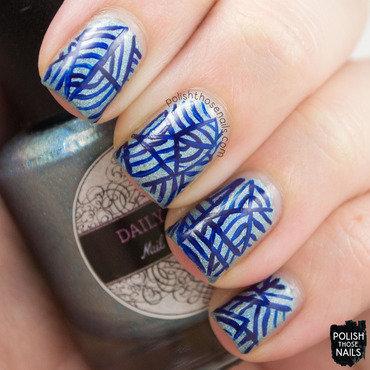 Daily hues nail lacquer jessica blue holo stripe nail art 3 thumb370f